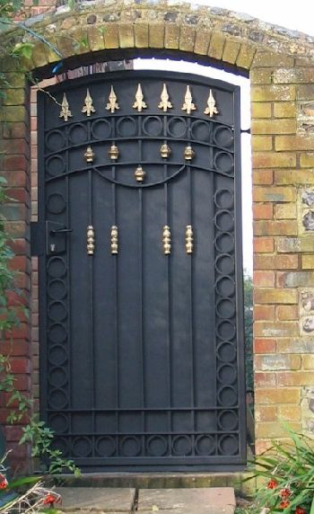 Pair Of Solid Teak Hardwood Rear Entrance Gates With Metal